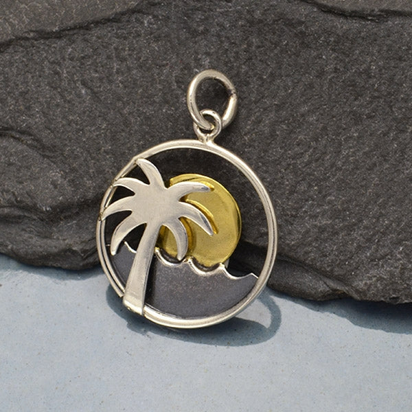 Sterling Silver Palm Tree and Ocean Charm with Bronze Sun,