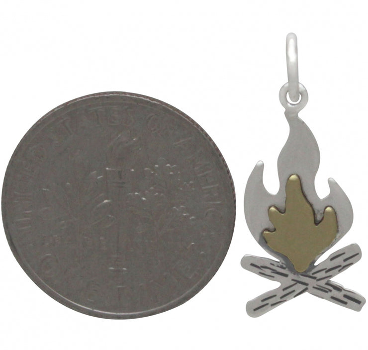 Sterling Silver Campfire Charm with Bronze Flames - Poppies Beads n' More