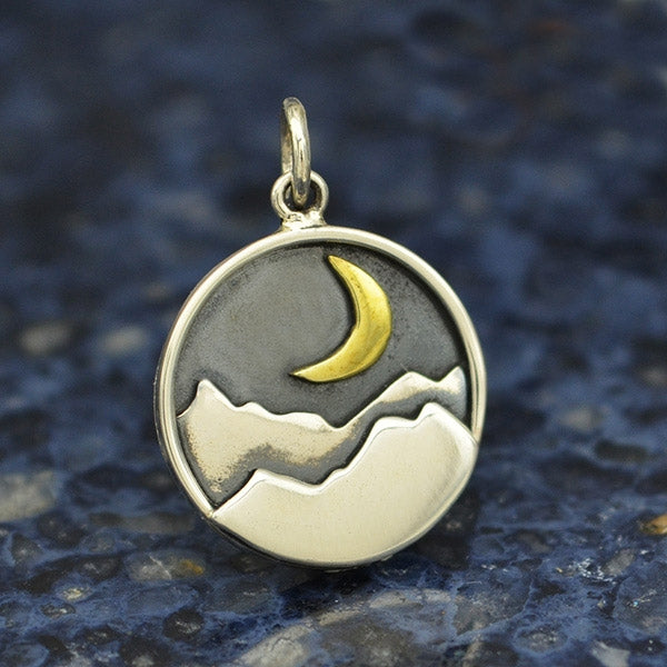 Sterling Silver Mountain Charm with Bronze Crescent
