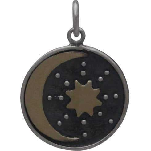 Sterling Silver Talisman Charm with Bronze Sun & Moon - Poppies Beads n' More