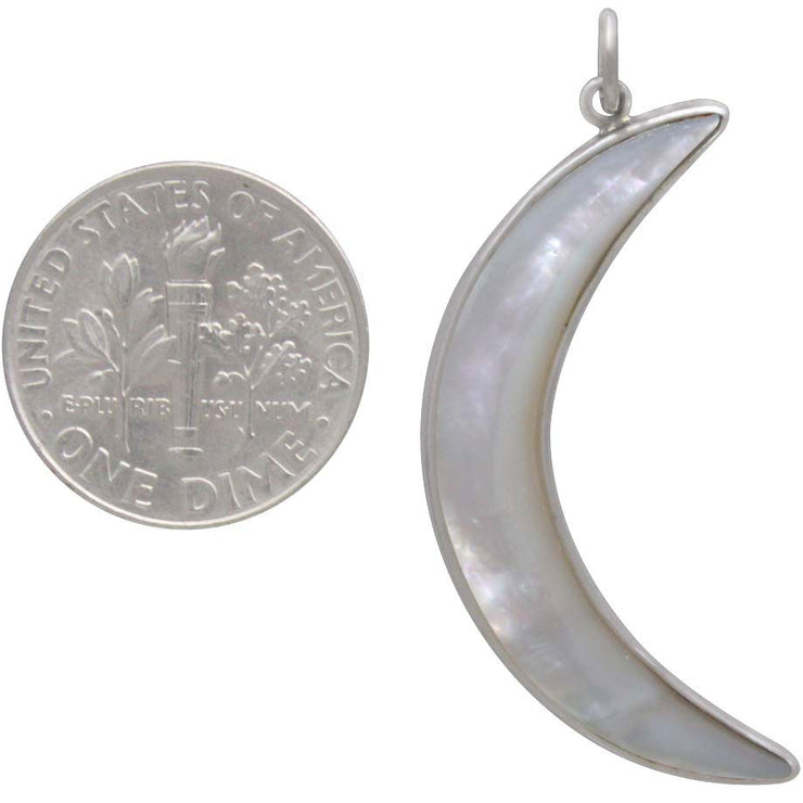 Mother of Pearl Moon Pendant with Sterling Silver Bezel - Poppies Beads n' More