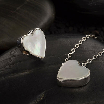 Mother of Pearl Heart Bead with Silver Bezel - Poppies Beads n' More