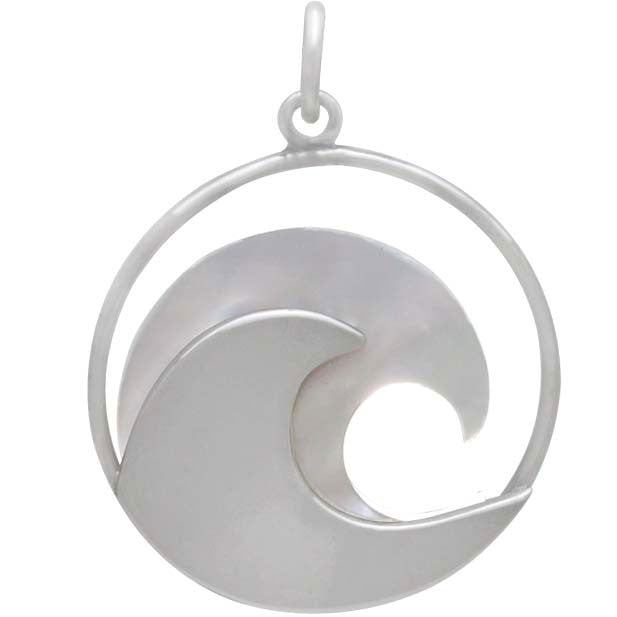 Sterling Silver Wave Pendant with Mother of Pearl - Poppies Beads n' More