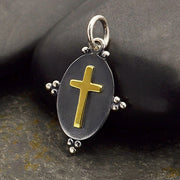 Oxidized Silver Oval Charm with Bronze Cross - Poppies Beads n' More