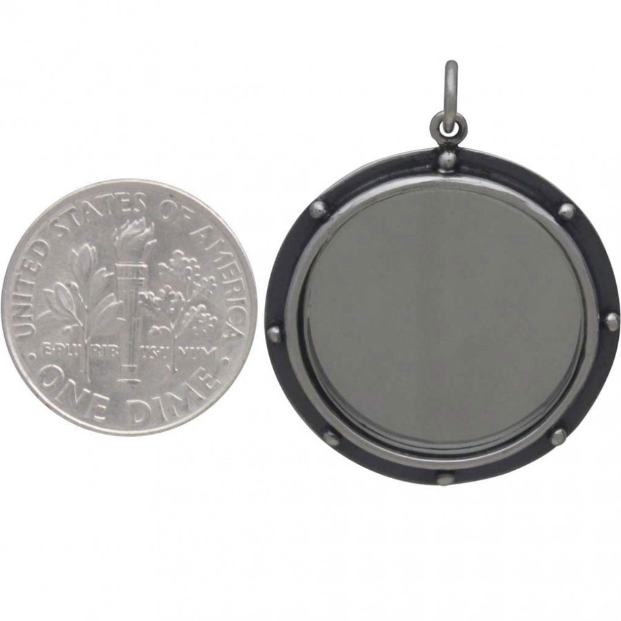 Sterling Silver Mirror Pendant with Granulation,