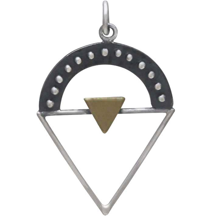 Silver Triangle Charm with Granulation and Bronze - Poppies Beads n' More