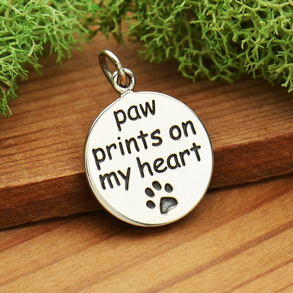 Sterling Silver Message Pendant - Paw Prints on my Heart - Poppies Beads n' More