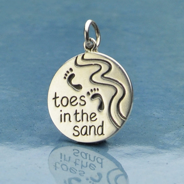 Sterling Silver Beach Charm - Toes in the Sand Charm,