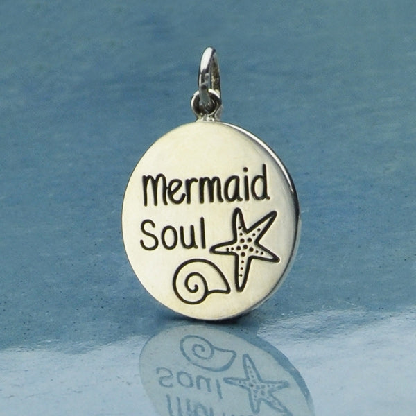 Sterling Silver Mermaid Charm - Mermaid Soul Beach Charm,