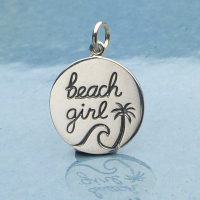 Sterling Silver Beach Charm - Beach Girl Charm, Nina Designs