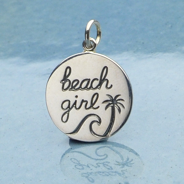 Sterling Silver Beach Charm - Beach Girl Charm, - Poppies Beads n' More