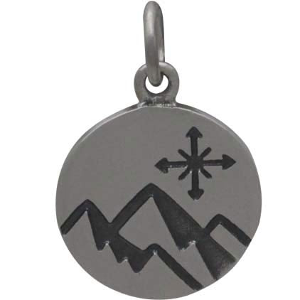 Mountain Charm with Compass on Disk - Poppies Beads n' More
