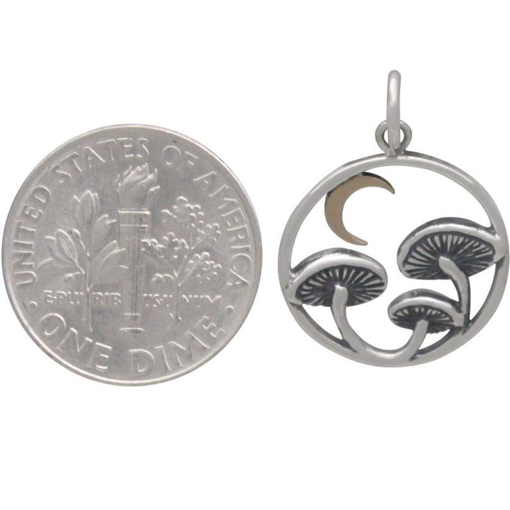 Sterling Silver Mushroom Charm with Bronze Moon - Poppies Beads n' More