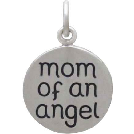 Silver Miscarriage Memorial Charm - Mom of an Angel - Poppies Beads n' More