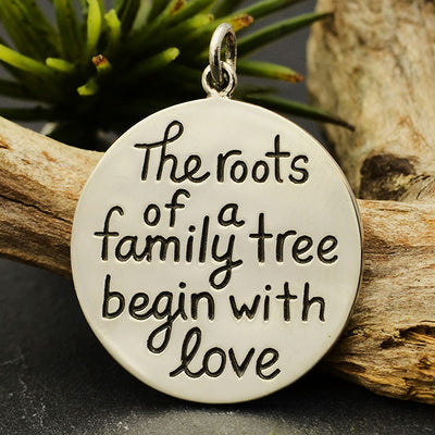 Sterling Silver Family Message Pendant - Roots of a Family - Poppies Beads n' More