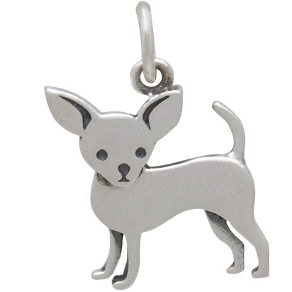 Sterling Silver Chihuahua Dog Charm - Poppies Beads n' More