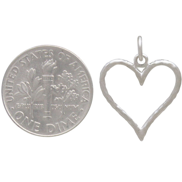 Sterling Silver Hammered Wire Heart Charm - Poppies Beads n' More