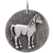 Sterling Silver Horse Coin Charm - Poppies Beads n' More