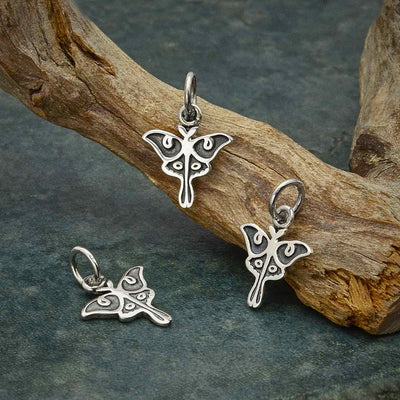Sterling Silver Tiny Luna Moth Charm - Poppies Beads n' More
