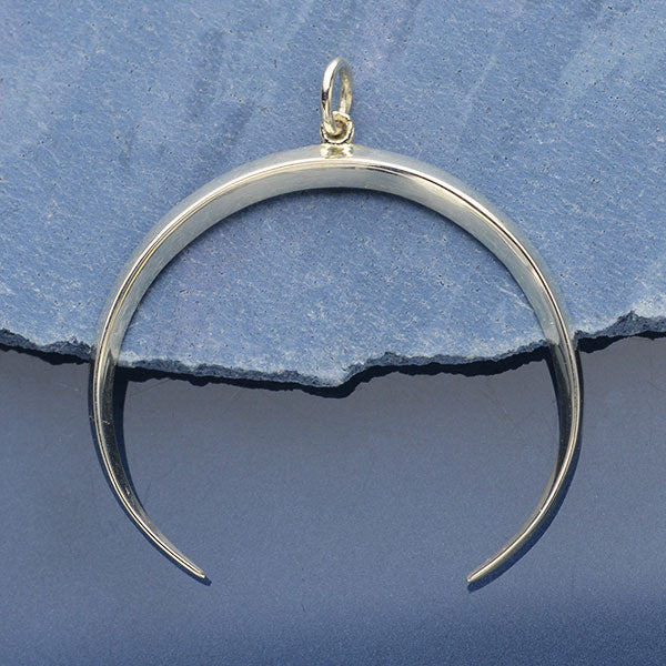 Inverted Ridged Crescent Moon Pendant - Poppies Beads n' More