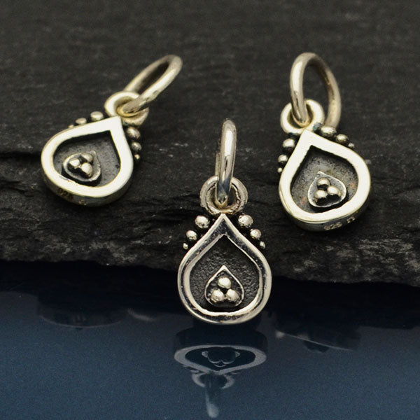 Sterling Silver Decorated Teardrop Charm - Poppies Beads n' More
