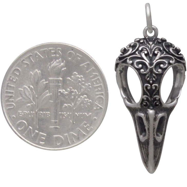 Silver Raven Skull Charm with Scroll Carving - Poppies Beads n' More