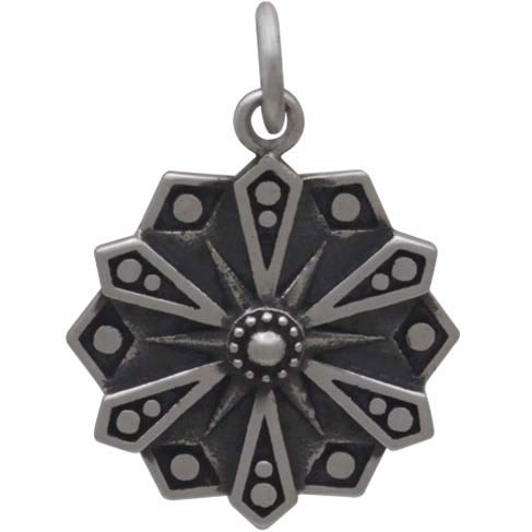 Sterling Silver Affirmation Mandala Charm - COURAGE - Poppies Beads n' More