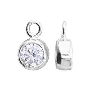 Sterling Silver Bezel Birthstone Charm - Poppies Beads n' More