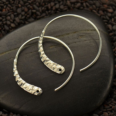 Sterling Silver Hoop Earring with Hammered Front - Poppies Beads n' More