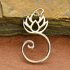 Sterling Silver Lotus Charm Holder - Poppies Beads n' More
