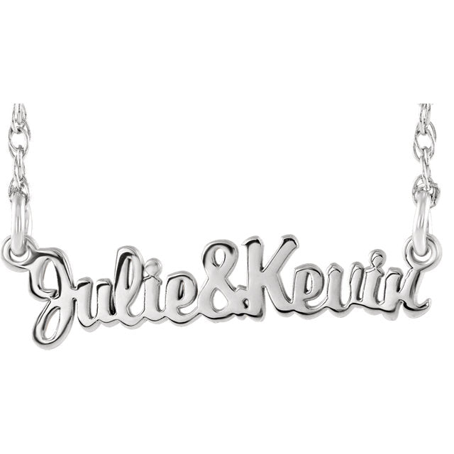 Script Couples Nameplate Necklace