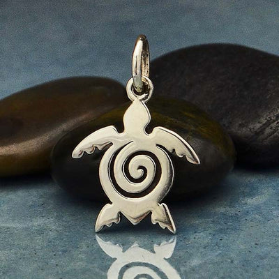 Sterling Silver Sea Turtle Charm with Spiral - Poppies Beads n' More