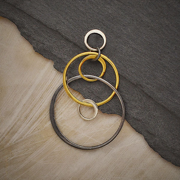 Silver Black and Bronze Six Floating Circles Link,