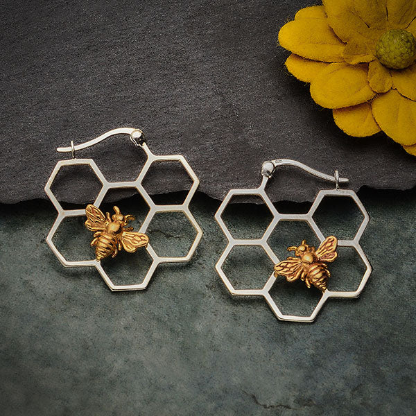 Silver Honeycomb Hoop Earrings with Bronze Bee