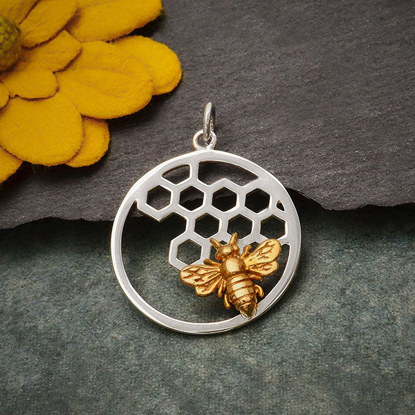 Silver Honeycomb and Bee Charm in Circle Frame, Nina Designs