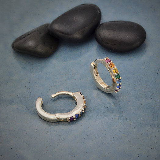 Silver Rainbow Huggie Hoop Earrings with Nano Gems,