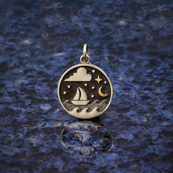 Silver Sailboat Charm with Bronze Star and Moon - Poppies Beads n' More