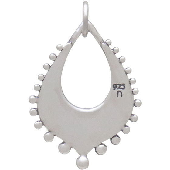 Silver Arabesque Charm with Granulation Drops,