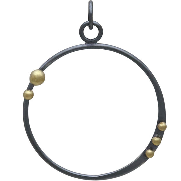 Silver Black Finish Circle Charm with Bronze Dots - Poppies Beads n' More