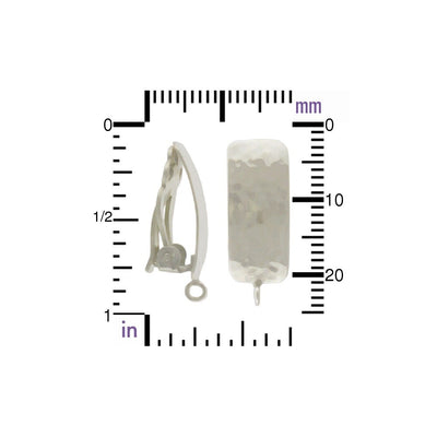 Silver Clip On Earring -Rectangle w Hammer Finish and Loop