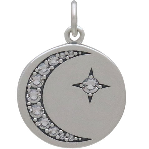 Silver Disk Charm with Nano Gem Star and Moon