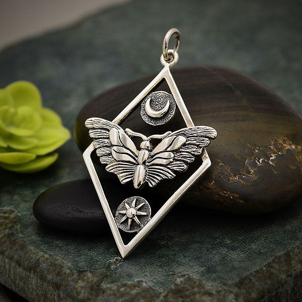Silver Geometric Moth Charm with Sun and Moon