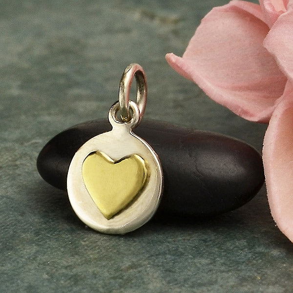 Sterling Silver Small Disk Charm with Bronze Heart,
