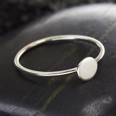 Sterling Silver Stacking Ring with Silver or Bronze Dot,