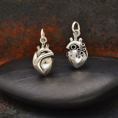 Stering Silver Small 3D Anatomical Heart Charm - Poppies Beads n' More