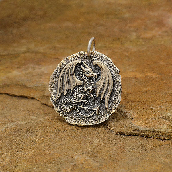 Sterling Silver Ancient Coin Charm - Dragon