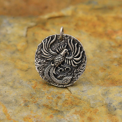 Sterling Silver Ancient Coin Charm -Phoenix - Poppies Beads n' More
