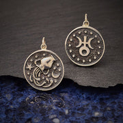 Sterling Silver Astrology Aquarius Pendant - Poppies Beads n' More