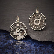 Sterling Silver Astrology Aries Pendant - Poppies Beads n' More