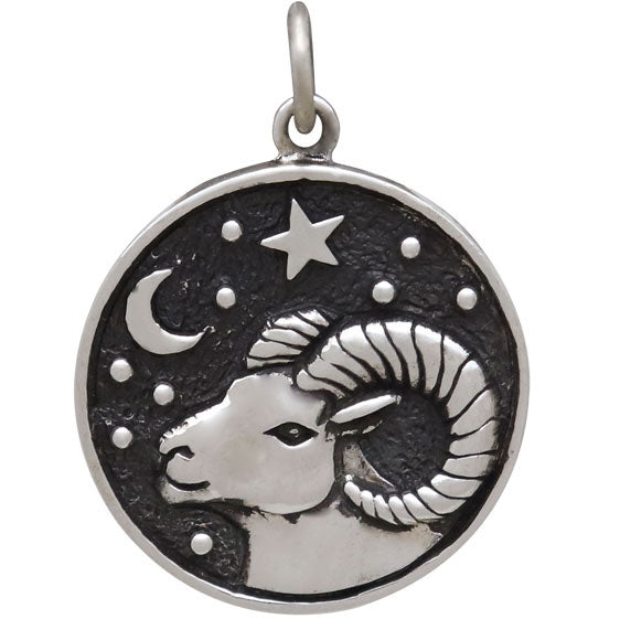 Sterling Silver Astrology Aries Pendant,